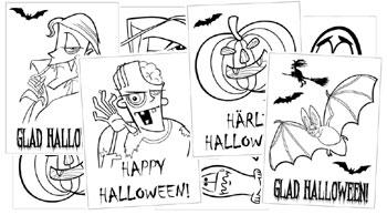 bus eller godis, halloweenkort att skriva ut